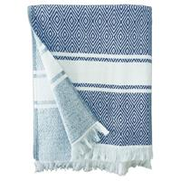 Strandlaken/badlaken hammam blauw/wit Chevron 90 x 160 cm Multi
