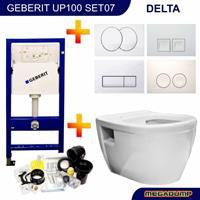 geberit Up100 Toiletset 07 Aqua Splash Prio Rimfree Met Drukplaat - Standaard Delta 21 Wit (115125111)