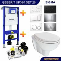 geberit Up320 Toiletset 26 Aqua Splash Trevi Compact Met Bril En Drukplaat - Standaard Sigma 01 - Wit - 115770115