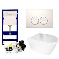 Geberit UP100 Toiletset Set50 BWS Plana Randloos Glans Wit Met Delta drukplaat