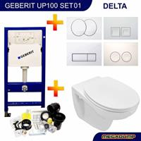 geberit Up100 Toiletset 01 Basic Wandcloset Softclose Met Delta Drukplaat - Delta 21 Wit - 115125111 (standaard)