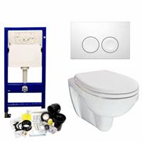 geberit Up100 Toiletset 26 Aqua Splash Trevi Compact Met Bril En Drukplaat - Standaard Delta 21 Wit (115125111)