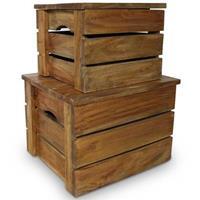 VidaXL Opslagkrattenset massief gerecycled hout 2-delig