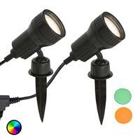 Briloner Set v. 2 - LED grondspies lamp Terra m kleurfilter