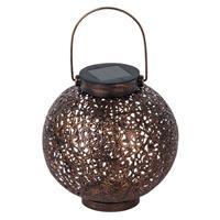 LINDBY LED lantaarn op zonne-en Dunjaris, ornament, koper