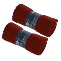 2x Fleece dekens/plaids met franjes rood 130 x 170 cm Rood