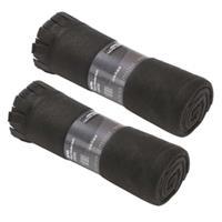2x Fleece dekens/plaids met franjes zwart 130 x 170 cm Zwart