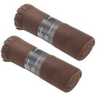 2x Fleece dekens/plaids met franjes bruin 130 x 170 cm Bruin