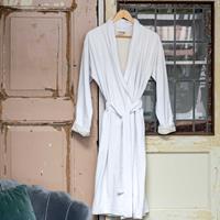 Walra Badjas Soft Jersey Robe Wit / Kiezel Grijs-S/M
