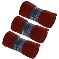 3x Fleece dekens/plaids met franjes rood 130 x 170 cm Rood