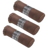 3x Fleece dekens/plaids met franjes bruin 130 x 170 cm Bruin