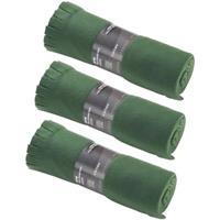 3x Fleece dekens/plaids met franjes donker groen 130 x 170 cm Groen