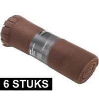 6x Fleece dekens/plaids met franjes bruin 130 x 170 cm Bruin
