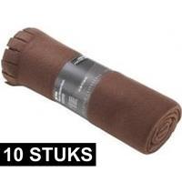 10x Fleece dekens/plaids met franjes bruin 130 x 170 cm Bruin