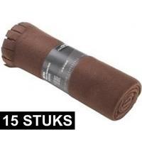 15x Fleece dekens/plaids met franjes bruin 130 x 170 cm Bruin