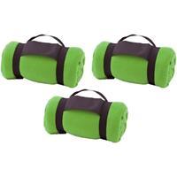 3x Fleece dekens/plaids groen afneembaar handvat 160 x 130 cm Groen
