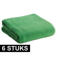 6x Fleece dekens/plaids groen 120 x 150 cm Groen
