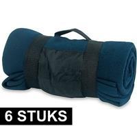 6x Fleece dekens/plaids blauw afneembaar handvat 160 x 130 cm Blauw