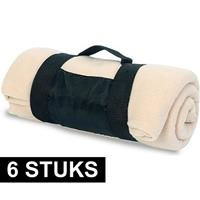 6x Fleece dekens/plaids beige afneembaar handvat 160 x 130 cm Beige