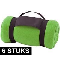 6x Fleece dekens/plaids groen afneembaar handvat 160 x 130 cm Groen