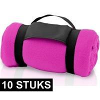 10x Fleece dekens/plaids roze met afneembaar handvat 160 x 130 c Roze