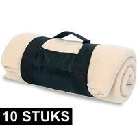 10x Fleece dekens/plaids beige afneembaar handvat 160 x 130 cm Beige