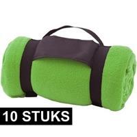 10x Fleece dekens/plaids groen afneembaar handvat 160 x 130 cm Groen