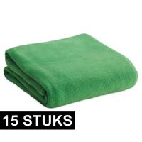 15x Fleece dekens/plaids groen 120 x 150 cm Groen