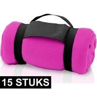 15x Fleece dekens/plaids roze met afneembaar handvat 160 x 130 c Roze