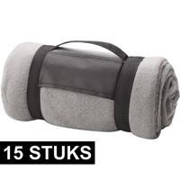 15x Fleece dekens/plaids grijs afneembaar handvat 160 x 130 cm Grijs