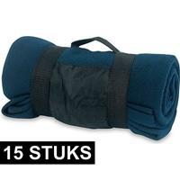 15x Fleece dekens/plaids blauw afneembaar handvat 160 x 130 cm Blauw