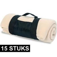 15x Fleece dekens/plaids beige afneembaar handvat 160 x 130 cm Beige