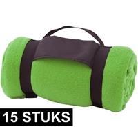 15x Fleece dekens/plaids groen afneembaar handvat 160 x 130 cm Groen