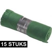 15x Fleece dekens/plaids met franjes donker groen 130 x 170 cm Groen