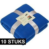 James & Nicholson 10x Fleece dekens/plaids kobaltblauw 130 x 170 cm Blauw