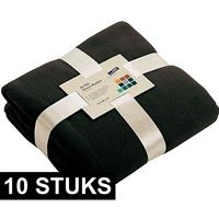 James & Nicholson 10x Fleece dekens/plaids zwart 130 x 170 cm Zwart