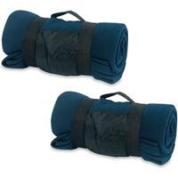 2x Fleece dekens/plaids blauw afneembaar handvat 160 x 130 cm Blauw