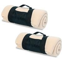 2x Fleece dekens/plaids beige afneembaar handvat 160 x 130 cm Beige