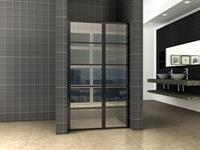 mueller Skyline nisdeur met vaste wand 120x200 mat zwart anti-kalk