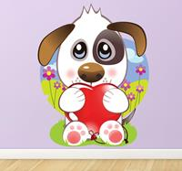 tenstickers Sticker kind hond hartje lief