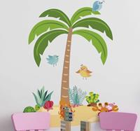 tenstickers Muursticker boom palm tree and marine animals