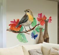 tenstickers Decoratieve Muursticker Hand Geschilderde Vogel