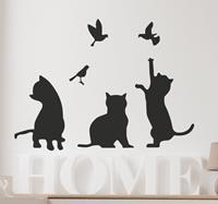 tenstickers Muursticker katten en vogels