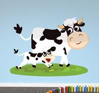 tenstickers Vrolijke koe met kalf sticker