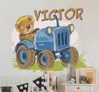 tenstickers Kinderkamer muursticker tractor gepersonaliseerd met naam