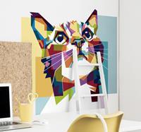 tenstickers Muurstickers dieren gekleurde kat