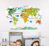 tenstickers Muursticker wereldkaart dieren