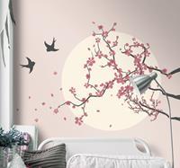 tenstickers Slaapkamer muursticker kersenboom en vogels