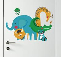 tenstickers Kinderkamer deursticker jungle dieren