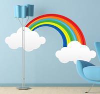 tenstickers Sticker Regenboog met Wolken